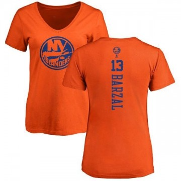 Women's Mathew Barzal New York Islanders One Color Backer T-Shirt - Orange